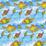 Seamless pattern. Of waves and fish.Vector illustration Stock Photo