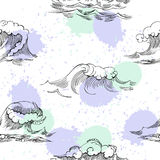 Seamless pattern with waves Stock Photo