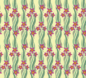 Seamless pattern with wavy leaves and flowers Royalty Free Stock Images