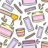 Seamless pattern with waxing and hair removal illustration. Royalty Free Stock Photos