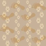 Seamless pattern ways dog paw prints and legs of a man. Stock Image
