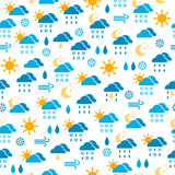 Seamless pattern of weather icons, endless backgro Royalty Free Stock Images