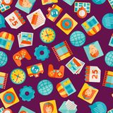 Seamless pattern with web and mobile icons Stock Photo