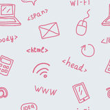 Seamless pattern with web symbols. For your design Stock Photos