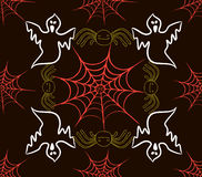 Seamless pattern with webs, spider and scarecrow Royalty Free Stock Photography
