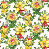 Seamless pattern with wedding boutonnieres  of watercolor roses,. Orchid, eucalyptus and silk bows Royalty Free Stock Image