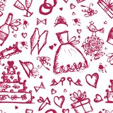 Seamless pattern with wedding design elements Stock Photo