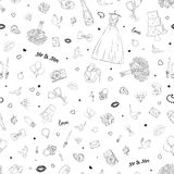 Seamless pattern with wedding icons. Wedding, marriage, bridal. Hand drawn vector background. Seamless pattern with wedding icons. Wedding, marriage, bridal Stock Photography