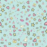 Seamless pattern -Wedding, marriage, bridal. Doodle Hand drawn vector background Stock Images