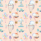 Seamless pattern on weekend theme; watercolor air balloons, aerostats, carousel and cars