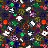 Seamless pattern Welcome back to school from a multicolored vector icons. royalty free illustration