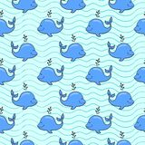 Seamless pattern with whale on blue ocean Royalty Free Stock Photo