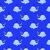 Seamless pattern with whale on blue ocean Royalty Free Stock Images