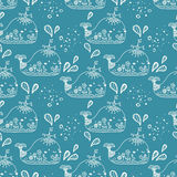 Seamless pattern with whale Royalty Free Stock Photos