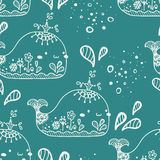 Seamless pattern with whale Stock Image