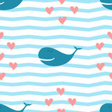 Seamless pattern the whale and the hearts. The seamless pattern the whale and the hearts Royalty Free Stock Photos