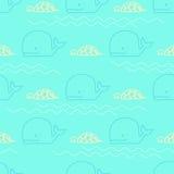 Seamless pattern whale turtle Royalty Free Stock Photos