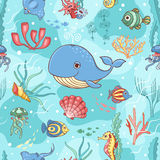 Seamless pattern with whale Royalty Free Stock Images