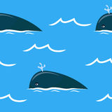 Seamless pattern with whales. Blue ocean with whales - seamless pattern in blue colors Stock Photos