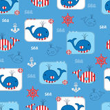 Seamless pattern with whales Royalty Free Stock Photo