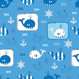 Seamless pattern with whales Stock Image