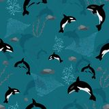 Seamless pattern with whales, seaweeds, corals and stingray. Complex vector print in olive, blue, aqua, grey and smoky blue. vector illustration