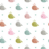 Seamless pattern with whales. Vector abstract colorful fish seamless pattern, whales and hearts Royalty Free Stock Photography