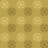 Seamless pattern of whimsical flowers in brown and gold tones. On a nice soft color background evenly spaced unusual flowers with four petals of two colors stock illustration