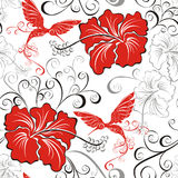 Seamless pattern whit hibiscus and hummingb Royalty Free Stock Photos