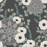 Seamless pattern with white anemone, eucalyptus and with ornate mandala. Floral background with lace ornament. Vector illustration in watercolor style stock illustration