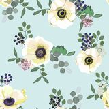 Seamless pattern with white anemone flowers, berries and greenery on blue background. Winter floral design for wedding. Invitation, save the date card, banner stock illustration