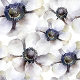 Seamless pattern with white anemones vector illustration