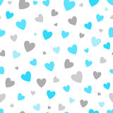 Seamless pattern white background with blue and silver hearts. design for holiday greeting card and invitation of baby. Shower, birthday, wedding, Happy Stock Photo
