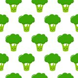 Seamless pattern on white background of cute cartoon green broccoli in kawaii style stock illustration
