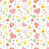 Seamless pattern on white background with colorful hearts and small circles. Seamless pattern on white background with decorative hearts and small circles of Stock Images