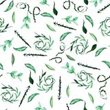 Seamless pattern on a white background, watercolor leaf botany and decorative curls. Green color vector illustration