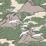 Seamless pattern of white birds flying over a mountain landscape Royalty Free Stock Images