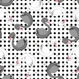 Seamless pattern with cartoon swans vector illustration