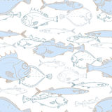 Seamless pattern of white and blue sea fish. Perch, cod, scomber, mackerel, flounder, saira. Vector doodle. Stock Image