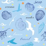 Seamless pattern with seashells and gulls. Seamless pattern with white and blue seashells and gulls on blue background Stock Image