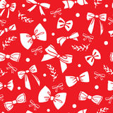 Seamless pattern with white bows on red background. Vector illustration. Seamless pattern with white bows and twigs on red background. Vector illustration Royalty Free Stock Photos