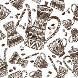 Seamless pattern with white and brown coffee pots. Seamless pattern based on coffee set with pots and cups decorated with hand drawn white and brown ethnic Royalty Free Stock Images