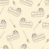 Seamless pattern of  white cake with spoon Stock Photo