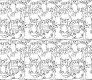 Seamless pattern: white cats on black Stock Photography