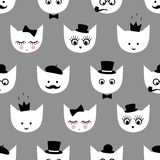 Seamless pattern with white cats with fashion glasses, mustache, bow-tie, hat, tobacco pipe, eyes, lashes, lips, crown on grey bac. Kground for kids holidays Stock Photo
