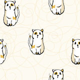 Seamless pattern white cats. Seamless pattern with white cats with red spots Royalty Free Stock Photography