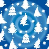 Seamless pattern, white christmas tree, on a blue background wit vector illustration
