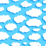 Seamless pattern of white clouds on blue sky Royalty Free Stock Photography