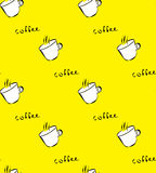 Seamless pattern with with white coffee cup on yellow background. Stock Image