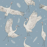 Seamless pattern with white cranes stock illustration